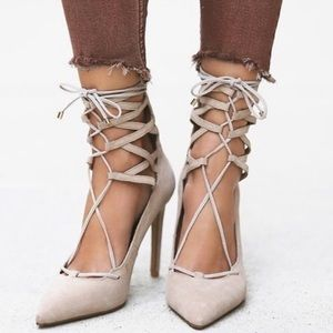 Jeffrey Campbell Free People Lace Up Heels 7.5